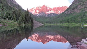 Maroon Bells Summer Reflection. A reflection in maroon lake of the snow capped maroon bells aspen colorado in summer stock video