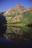 Maroon Bells at sunrise Stock Photography