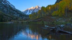 Maroon Bells Sunrise Aspen Colorado Time-lapse stock video footage