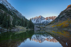Maroon Bells Sunrise Mirror Reflection Royalty Free Stock Photo