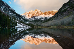 Maroon Bells at sunrise Stock Images