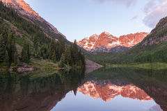 Maroon Bells Sunrise Reflection Stock Photos