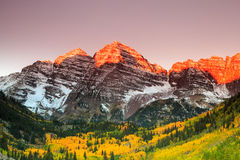Maroon Bells. Sunrise, White River National Forest, Colorado stock photography