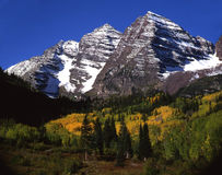 Maroon Bells (tight). Maroon Bells near Aspen, Colorado.  This image shows the mountains and a small part of the valley Stock Photos