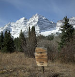 The Maroon Bells are two peaks in the Elk Mountains Stock Images