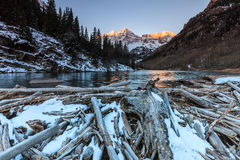 Maroon Bells in White River National Forest, Colorado. In winter Stock Image