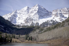 The Maroon Bells wilderness in full glory Stock Images
