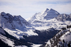 Maroon Bells In Winter Stock Images