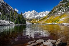 Maroon bells during fall royalty free stock images