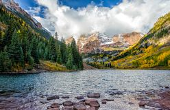 Maroon bells  during fall. Maroon bells in a winter morning Stock Photos