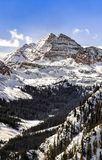 Maroon bells with snow tops. Maroon bells in a winter morning Royalty Free Stock Images