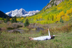 Maroon Bells Yoga Stock Images