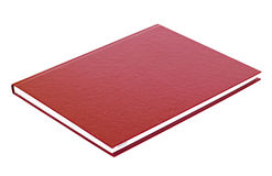 Maroon book lying isolated Stock Images