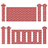 Maroon Brick Wall Patterns. Illustration of a few patterns of brick walls and its columns/pillars. The bricks are shades of maroon, red and brown. The image is Royalty Free Stock Images