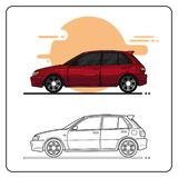Maroon City Cars side view vector illustration