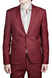Maroon color prom suit for men, isolated on white background. Burgundy wedding suit for men, isolated on white background royalty free stock images
