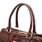 Maroon female leather handbag isolated on white background. Royalty Free Stock Images