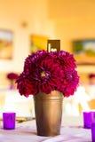 Maroon Flowers Bouquet Centerpiece Stock Photo