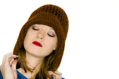 Maroon hat on female Stock Images
