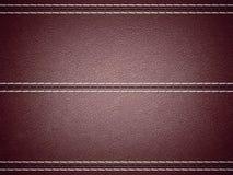 Maroon horizontal stitched leather background. Large resolution Stock Photography