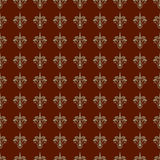 Maroon and Khaki Damask Seamless Pattern Stock Photo