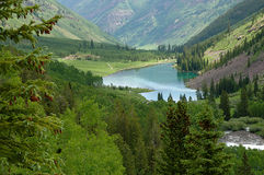 Maroon Lake. Looking back at Maroon Lake, near Aspen, Colorado Stock Image
