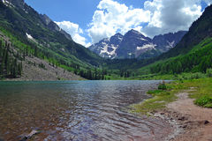 Maroon Lake. Maroon Bells in Aspen, Colorado stock image