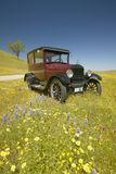 A maroon Model T driving down a scenic road surrounded by spring flowers off of Route 58, Shell Road, CA Stock Photos