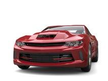 Maroon modern muscle car - front closeup shot Royalty Free Stock Photo