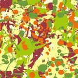 Maroon orange yellow green ink paint splashes seamless pattern Royalty Free Stock Image