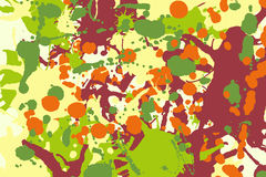 Maroon orange yellow green ink splashes background Royalty Free Stock Images