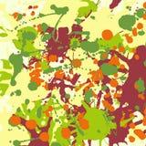 Maroon orange yellow green ink splashes background square Stock Photos