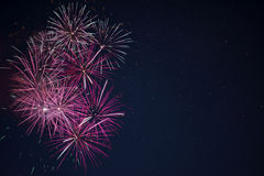Maroon red pink celebration fireworks over night sky Stock Photography