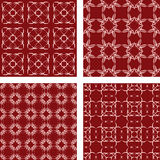 Maroon seamless pattern background set. Maroon abstract seamless vector pattern background set Stock Photo