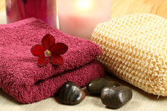 Maroon spa therapy. Luxury spa therapy in claret color. Relaxation moments Stock Photo
