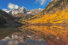 MaroonBells Aspen Colorado. Beautiful Fall season at Maroon Bells Mountains in Aspen Colorado USA For Calendar picture stock image