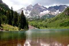 Marooned. Maroon Lake at the Maroon Bells, Aspen, Colorado Stock Photos