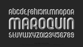Maroq bw. Set of stylized alphabet letters and numbers on black background. , regular font type. stripes texture typeface design. bold decorative typesetting vector illustration