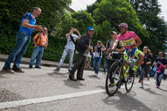 Marostica, Italia 24 maggio 2015; Alberto Contador before a hard stage of the Tour of Italy 2015. Royalty Free Stock Photo
