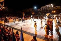 Marostica, VI, Италия - 9-ое сентября 2016: главным образом шахматы с re Стоковые Изображения