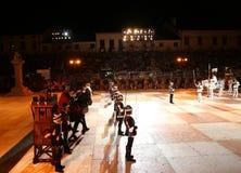 Marostica, VI, Италия - 9-ое сентября 2016: шахматы с реальным pe Стоковое Фото