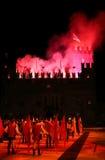 Marostica, VI, Itália - 9 de setembro de 2016: mostra dos fogos-de-artifício com pe Imagens de Stock Royalty Free