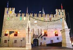 Marostica, VI, Italië - September 9, 2016: Middeleeuws Kasteel met D Stock Afbeelding