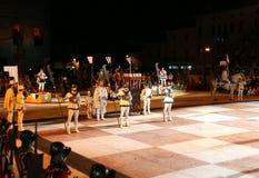 Marostica, VI, Italië - September 9, 2016: schaakspel met echt p Royalty-vrije Stock Fotografie