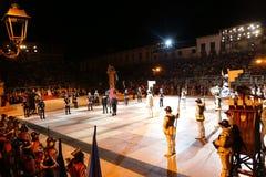 Marostica, VI, Italia - 9 de septiembre de 2016: juego de ajedrez con p real Imagen de archivo libre de regalías