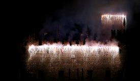 Marostica, VI, Italia - 9 settembre 2016: fuochi d'artificio con le scintille Fotografie Stock Libere da Diritti
