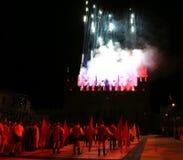 Marostica, VI, Italia - 9 settembre 2016: fuochi d'artificio da simulare Fotografia Stock