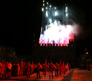 Marostica, VI, Italie - 9 septembre 2016 : feux d'artifice à simuler Photo stock