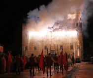 Marostica, VI, Italie - 9 septembre 2016 : feux d'artifice avec des étincelles Images libres de droits