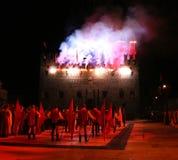 Marostica, VI, Italie - 9 septembre 2016 : les feux d'artifice montrent avec Photographie stock libre de droits